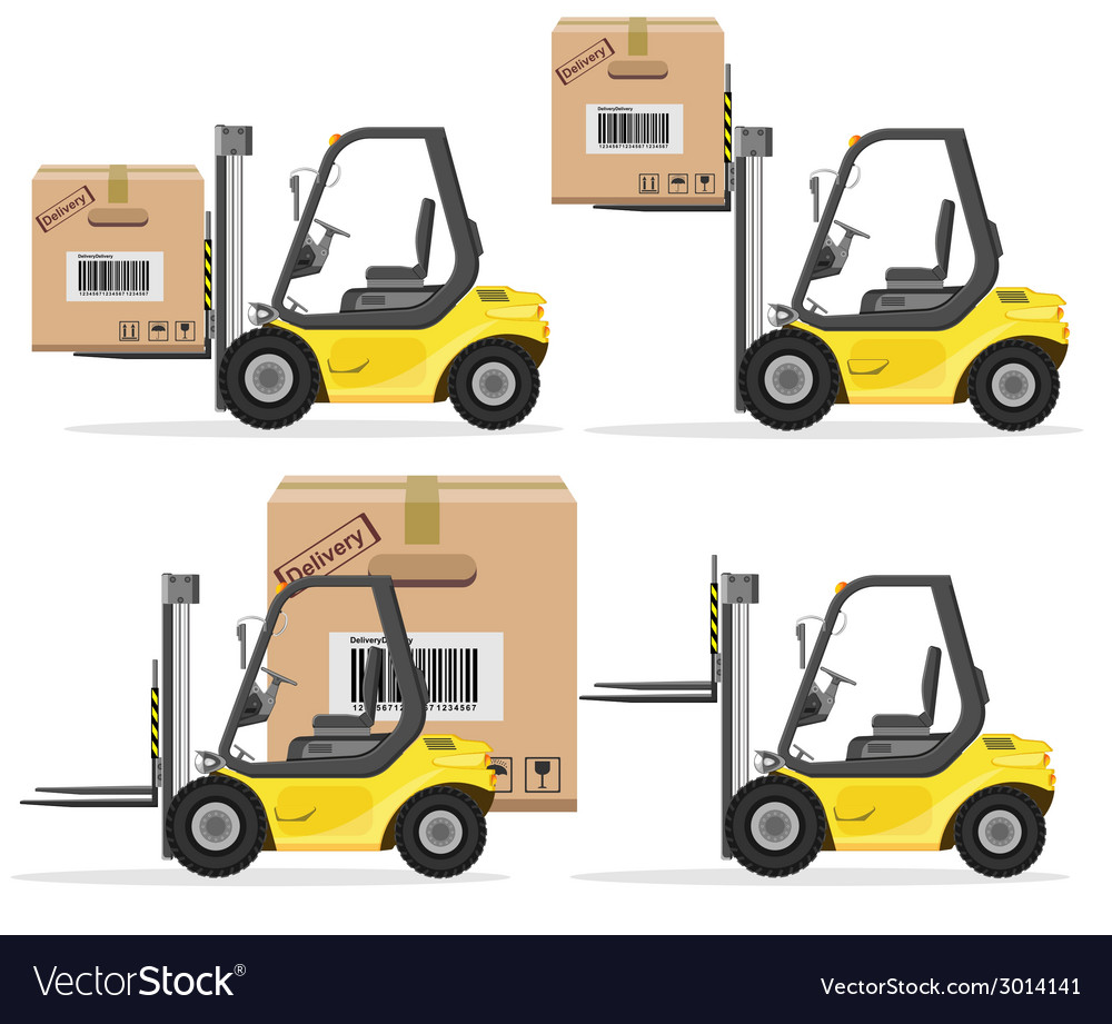 Loader with box shipment icons set vector | Price: 3 Credit (USD $3)