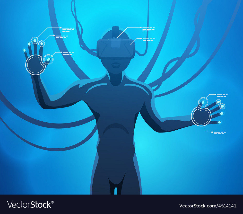 Man in a virtual reality helmet vector   Price: 1 Credit (USD $1)