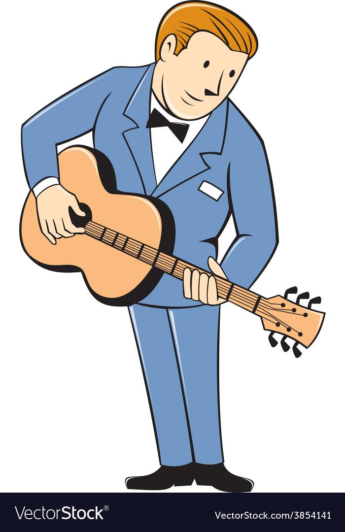 Musician guitarist standing guitar cartoon vector | Price: 1 Credit (USD $1)