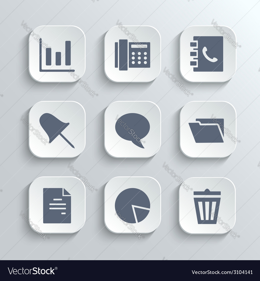 Office icons set - white app buttons vector | Price: 1 Credit (USD $1)