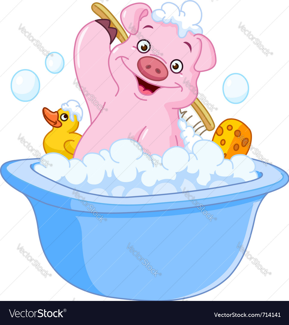 Pig taking a bath vector | Price: 3 Credit (USD $3)