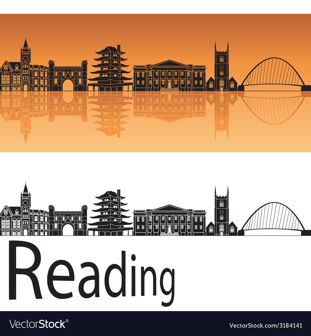 Reading skyline in orange background vector | Price: 1 Credit (USD $1)