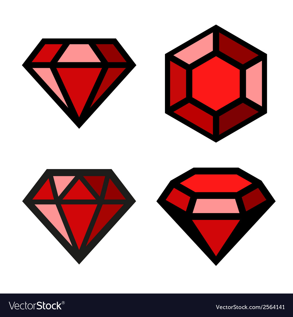 Ruby icons set vector | Price: 1 Credit (USD $1)