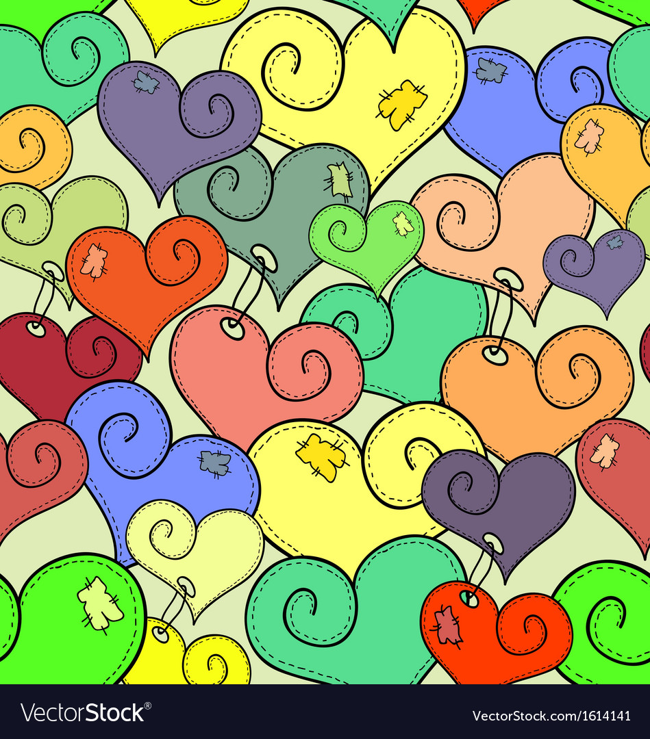 Seamless pattern of stitched hearts vector | Price: 1 Credit (USD $1)
