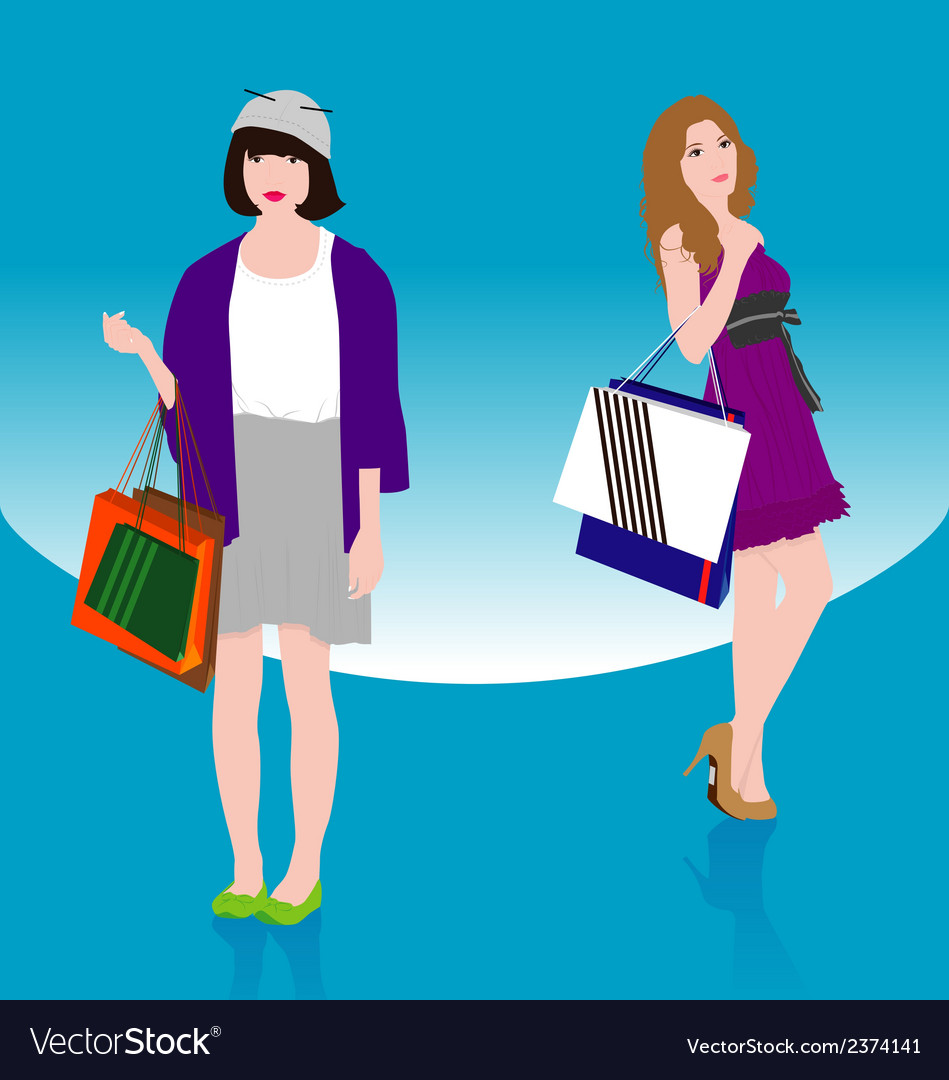 Woman shopping2 vector | Price: 1 Credit (USD $1)