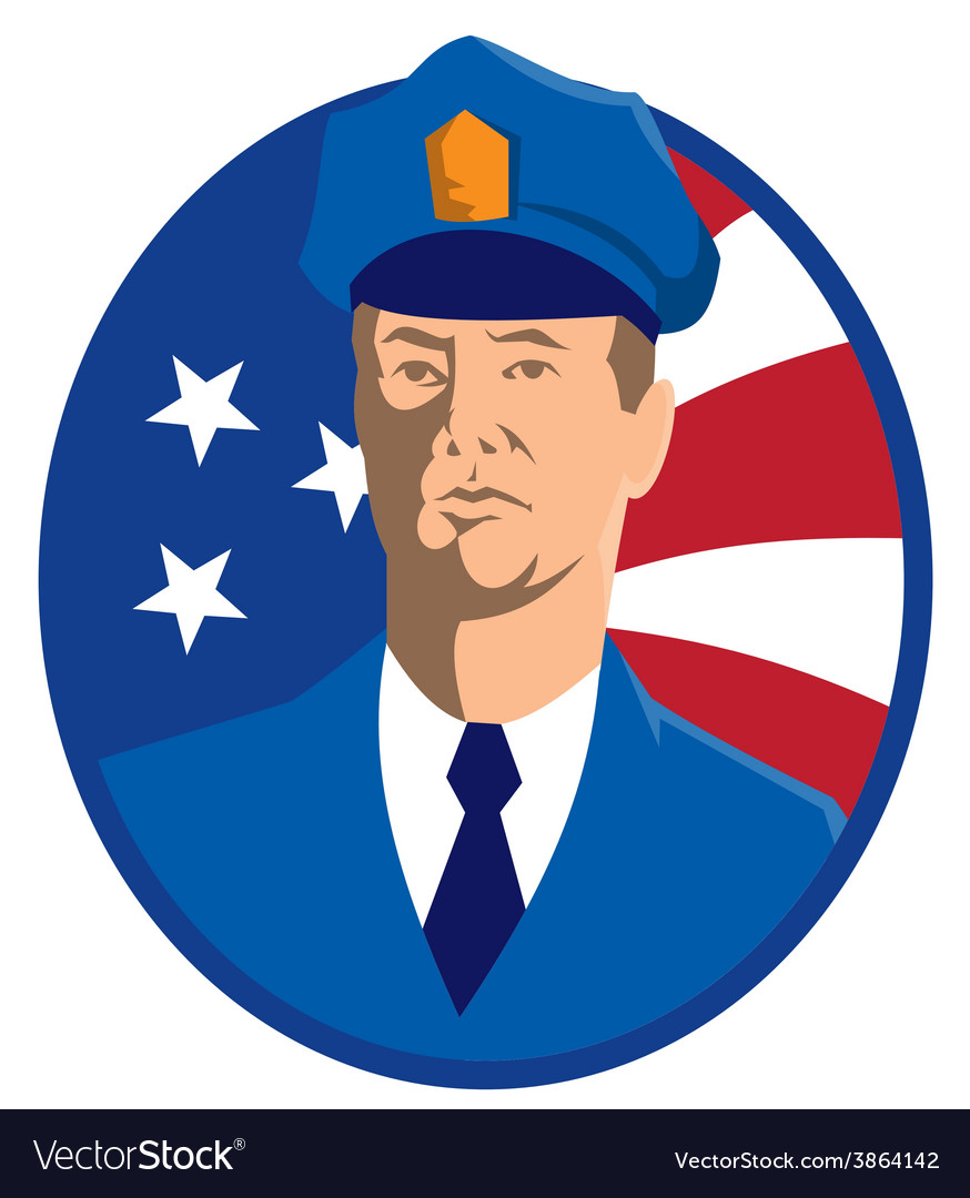 American police officer policeman flag vector   Price: 1 Credit (USD $1)