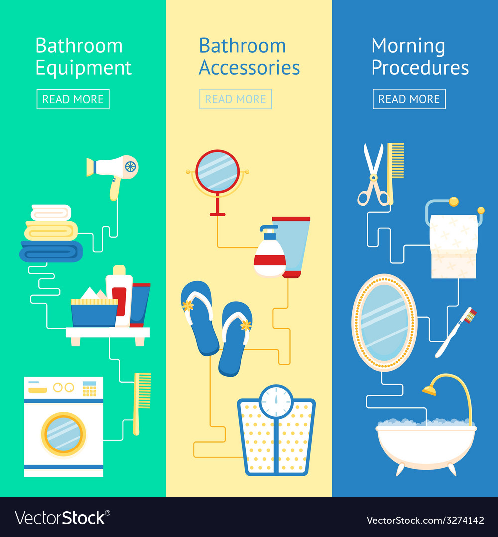 Bathroom banner set vector | Price: 1 Credit (USD $1)