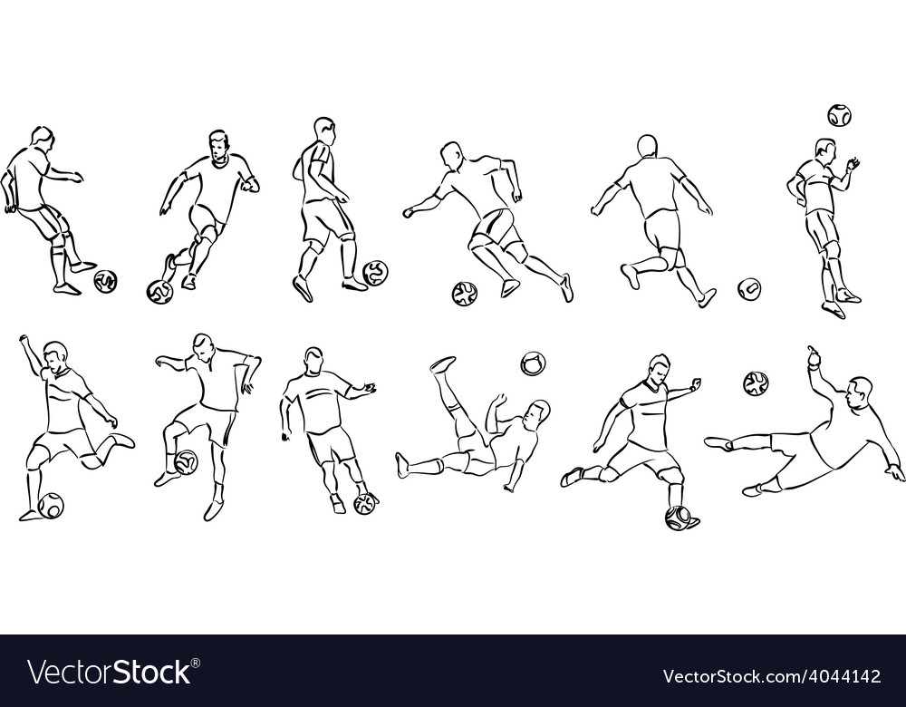 Contour silhouettes of football players vector | Price: 1 Credit (USD $1)