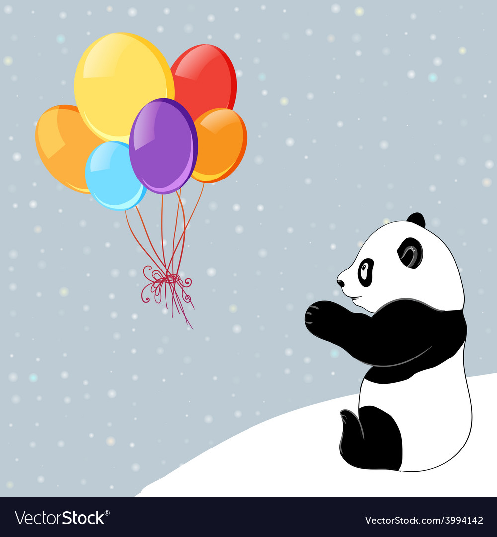 Dots background with colorful baloons and panda vector | Price: 1 Credit (USD $1)