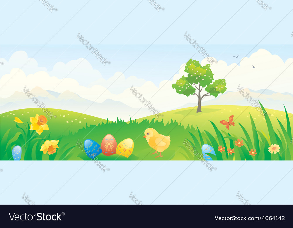 Easter chicken banner vector | Price: 1 Credit (USD $1)