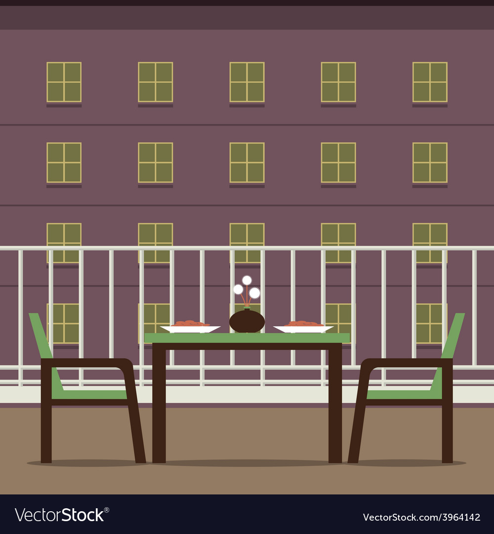 Empty dinner interior at balcony vector | Price: 1 Credit (USD $1)