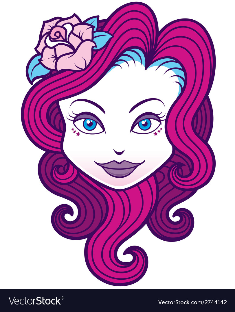 Girl face vector | Price: 1 Credit (USD $1)