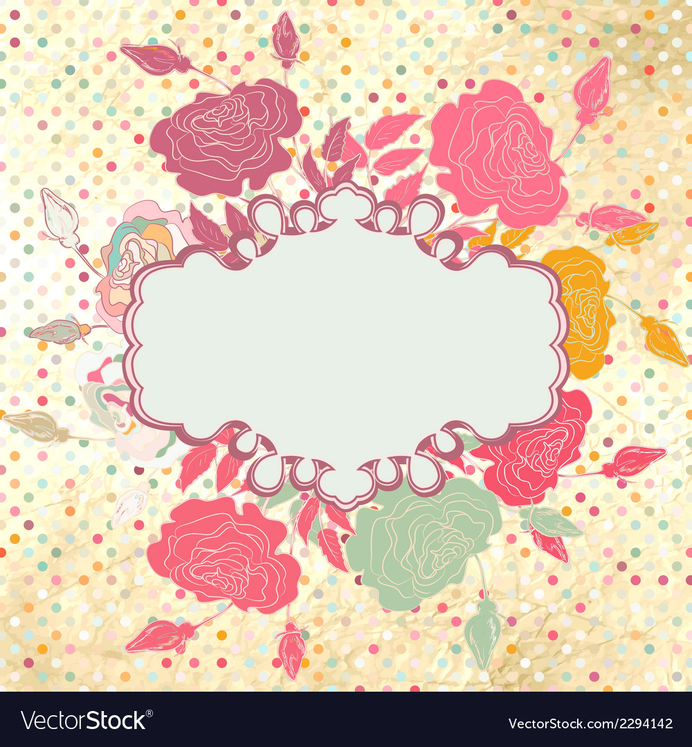 Greeting retro with frame and polka dots eps 8 vector | Price: 1 Credit (USD $1)