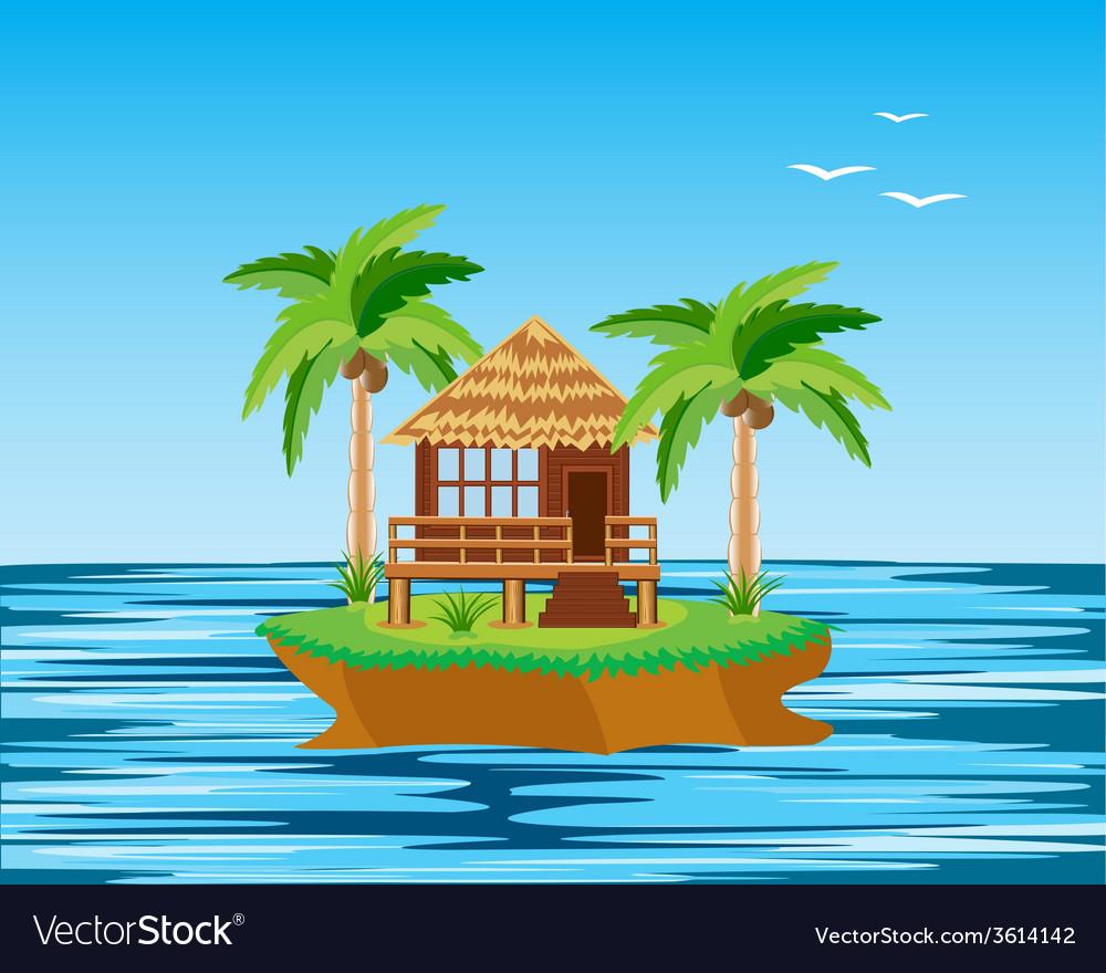 Island in ocean vector   Price: 1 Credit (USD $1)