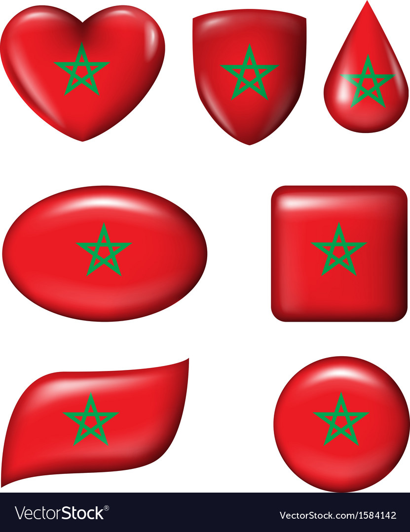 Morocco flag in various shape glossy button vector | Price: 1 Credit (USD $1)