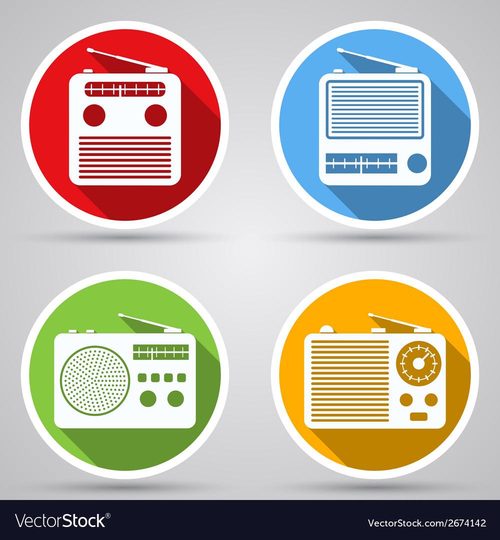 Radio receivers icons vector | Price: 1 Credit (USD $1)