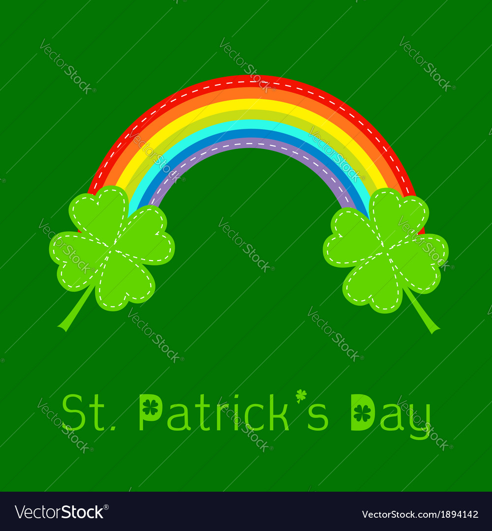 Rainbow and two clover leafs st patricks day vector | Price: 1 Credit (USD $1)