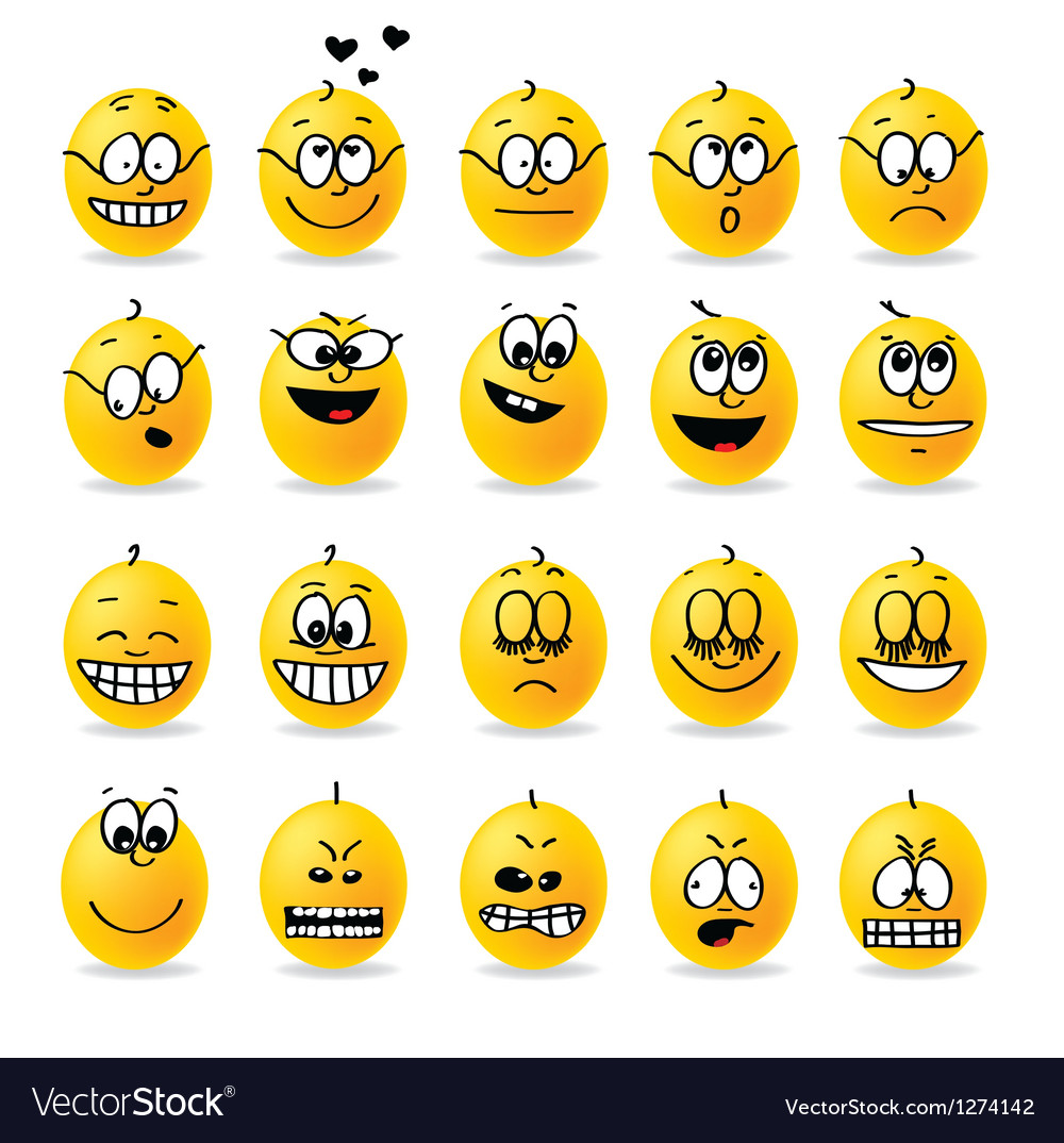 Smiley emotions moods vector | Price: 1 Credit (USD $1)