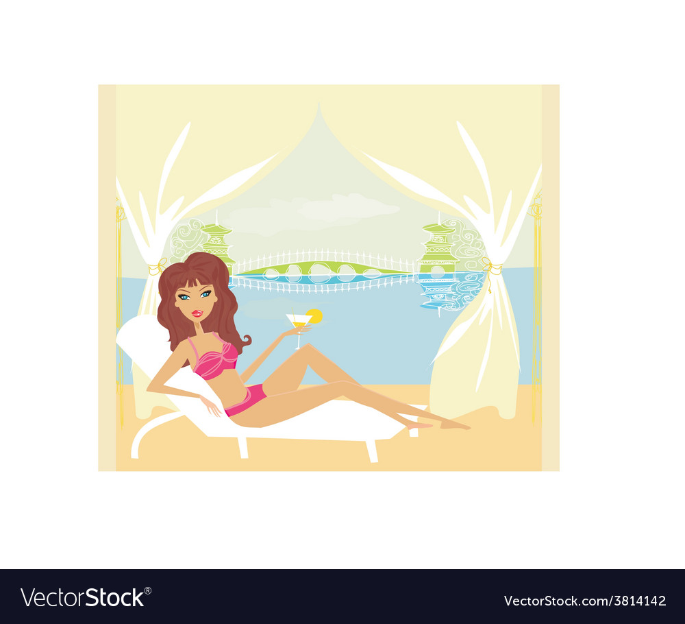 Summer sexy beach girl vector | Price: 1 Credit (USD $1)
