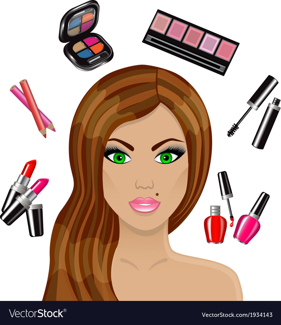 Beautiful woman and various cosmetics vector | Price: 1 Credit (USD $1)