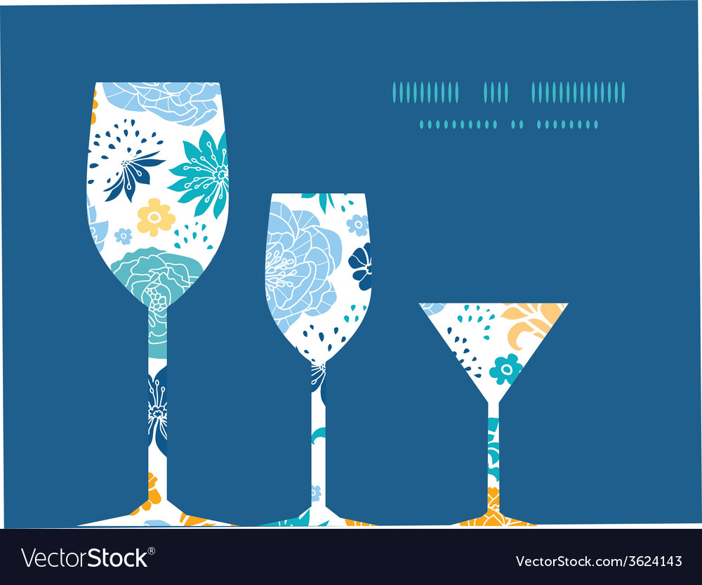 Blue and yellow flowersilhouettes three wine vector | Price: 1 Credit (USD $1)