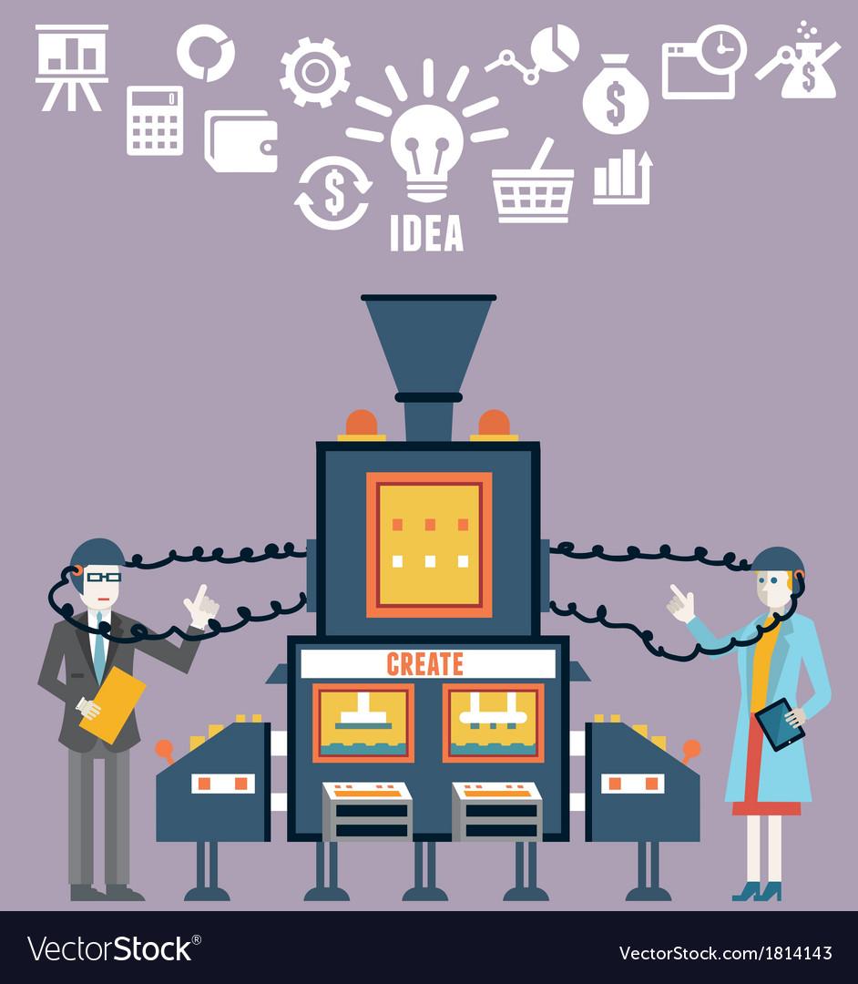 Businessman and businesswoman create ideas vector
