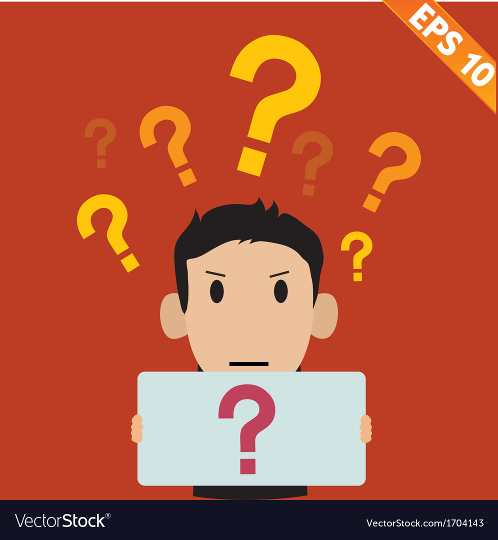 Businessman with question marks - - eps10 vector | Price: 1 Credit (USD $1)