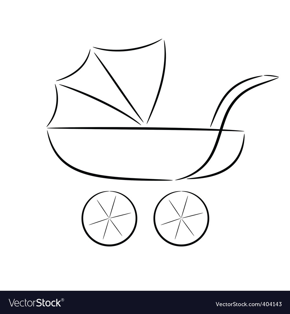 Cartoon silhouette of a pram vector | Price: 1 Credit (USD $1)