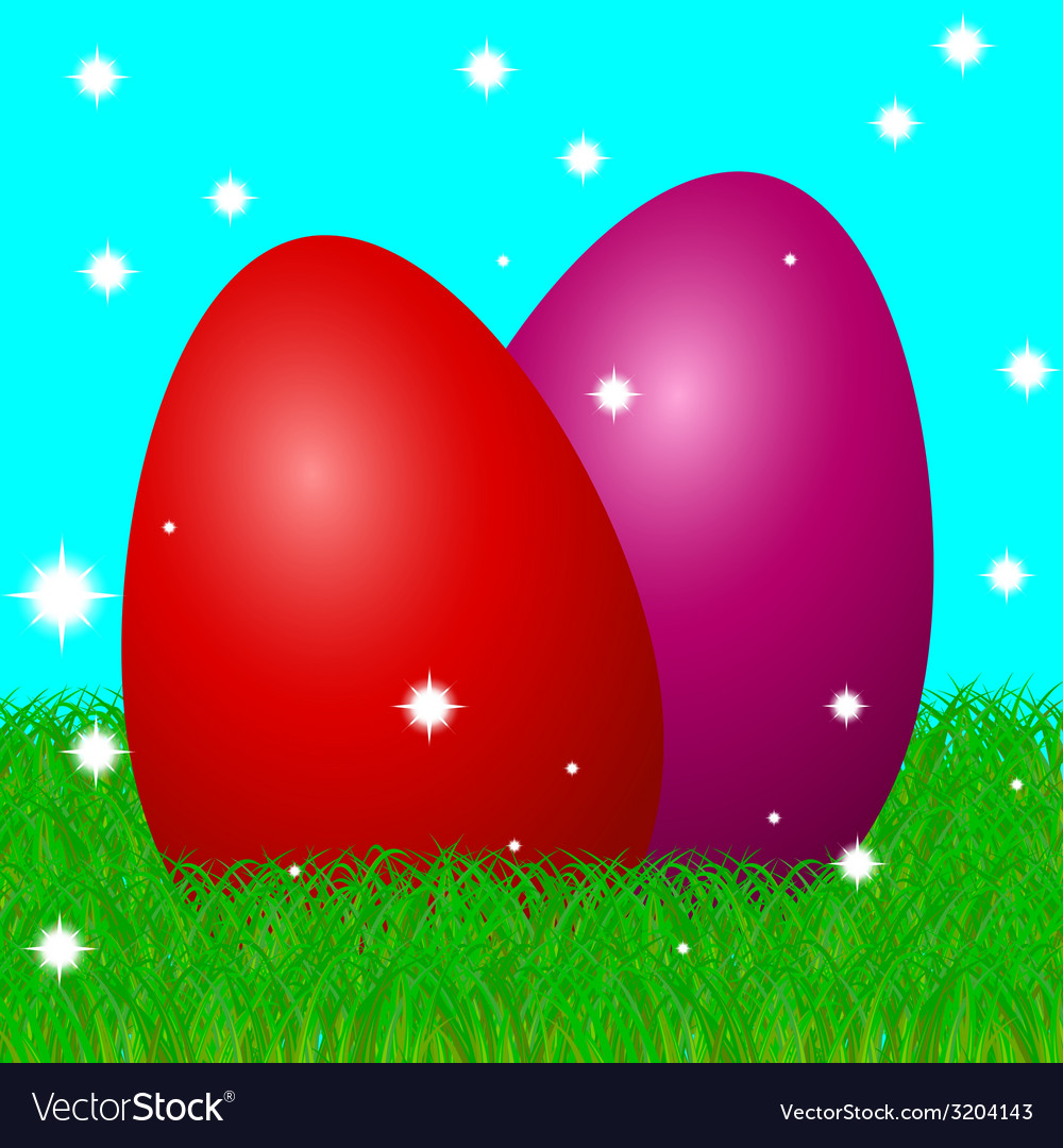 Easter eggs on grass vector | Price: 1 Credit (USD $1)