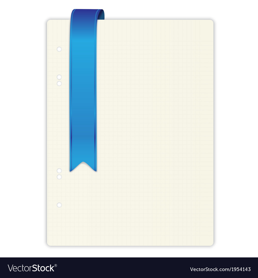 Exercise book in a cage blue ribbon vector | Price: 1 Credit (USD $1)