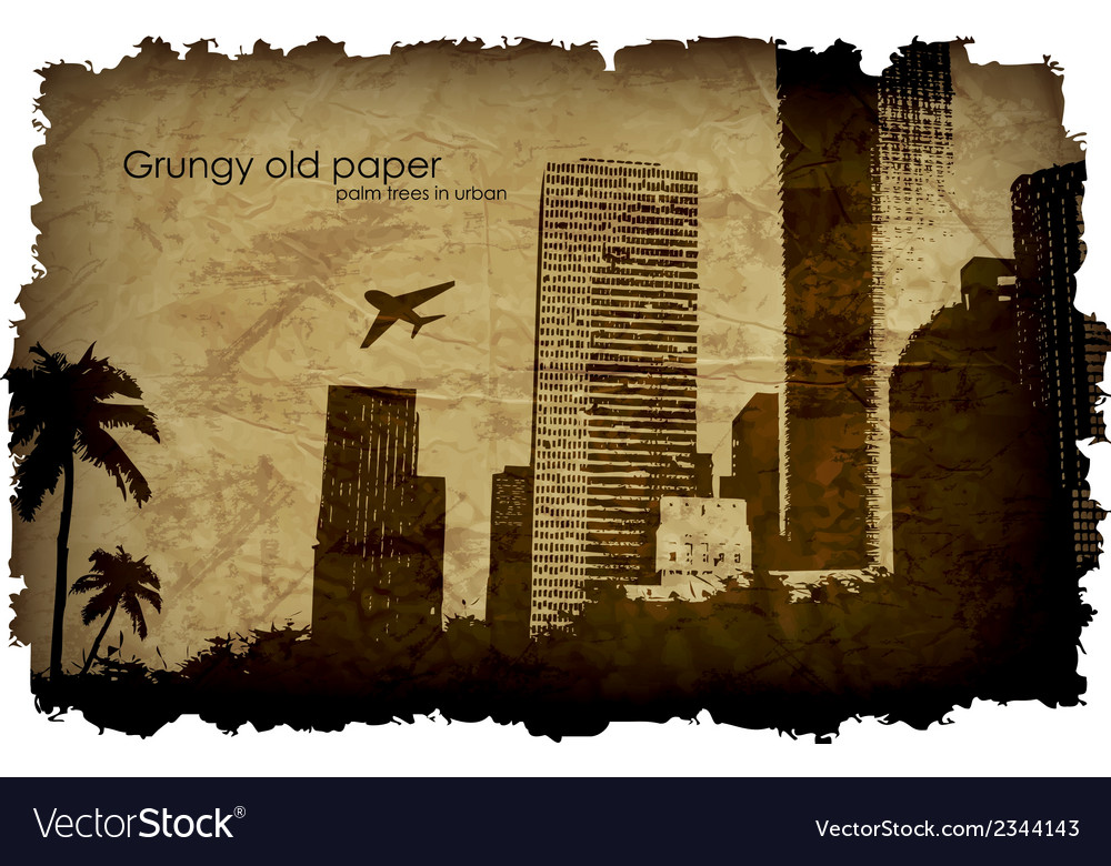 Grungy old paper with a big city and windmills vector | Price: 1 Credit (USD $1)