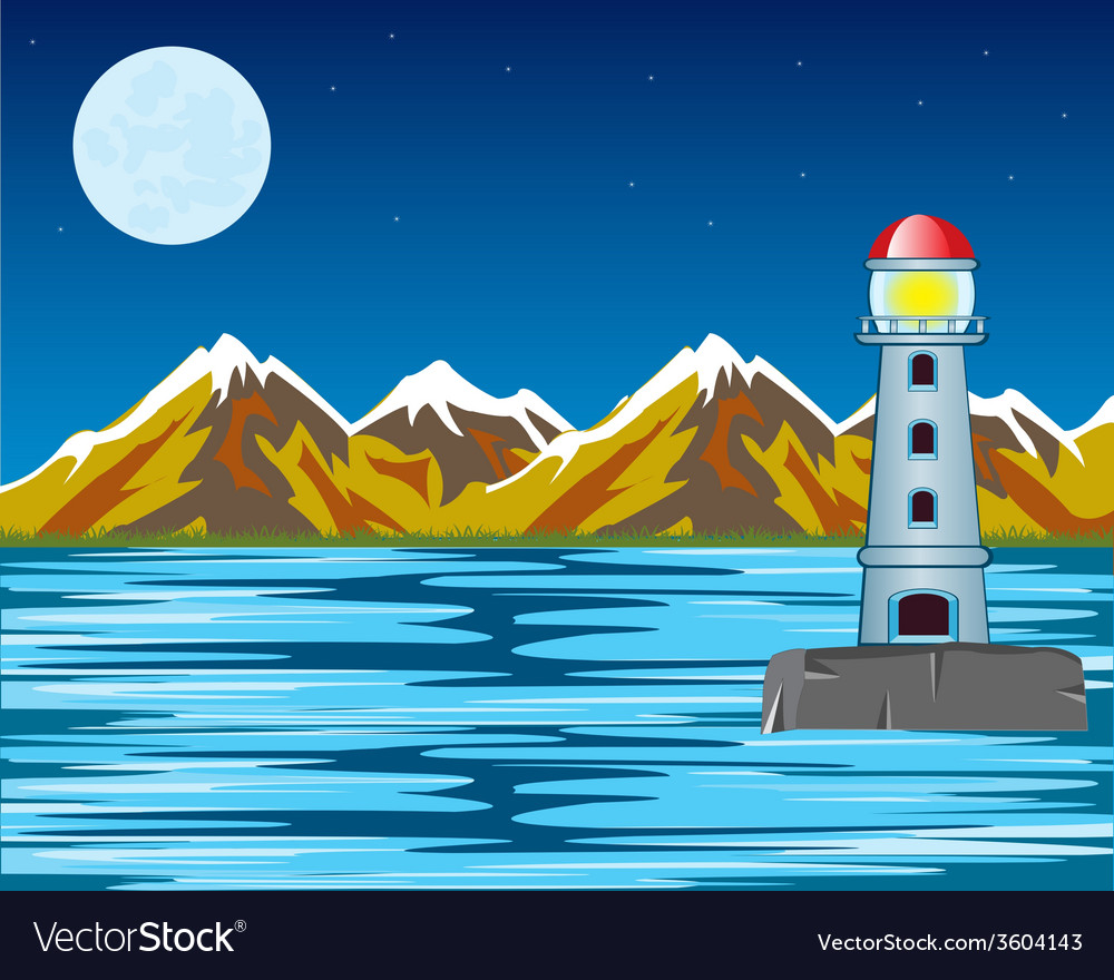 Lighthouse by night vector | Price: 1 Credit (USD $1)