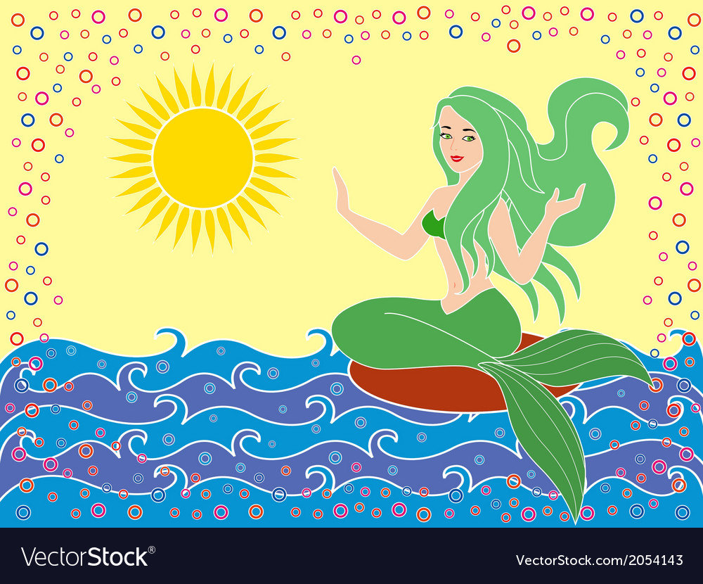 Mermaid on the sea waves vector | Price: 1 Credit (USD $1)