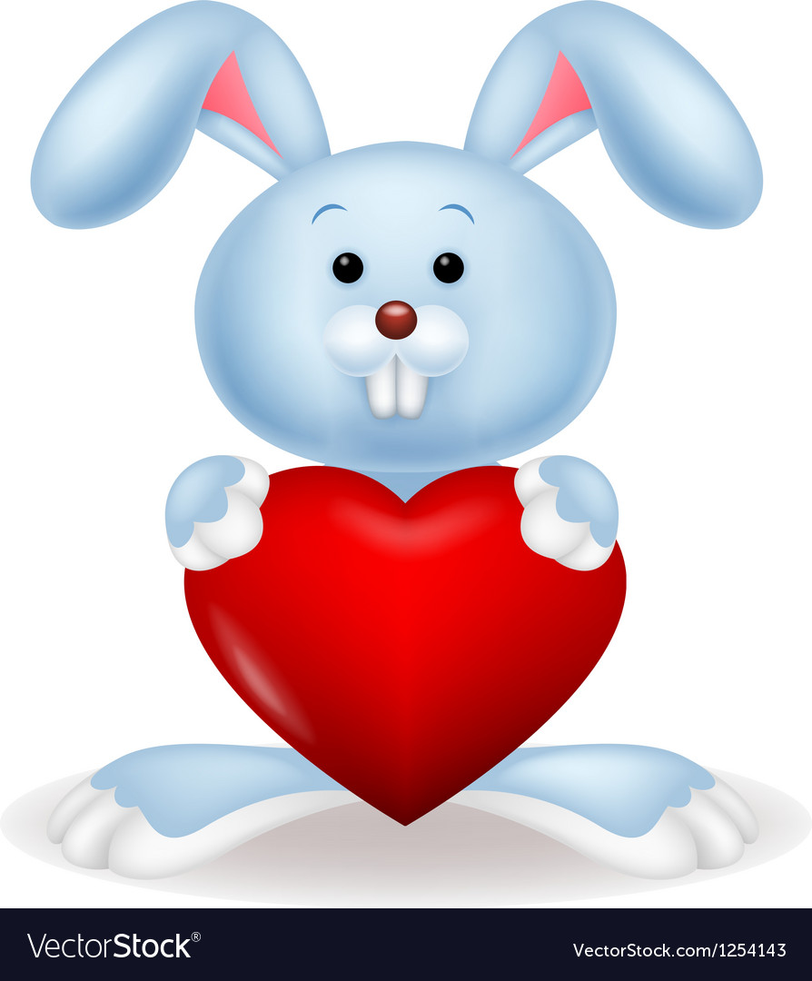 Rabbit with red heart vector | Price: 1 Credit (USD $1)