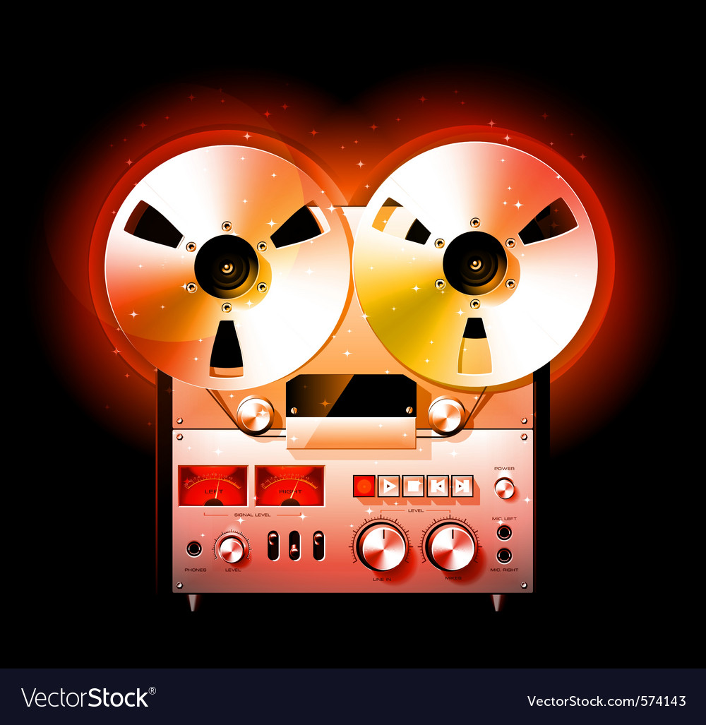 Reel to reel stereo tape deck recorder vector | Price: 3 Credit (USD $3)