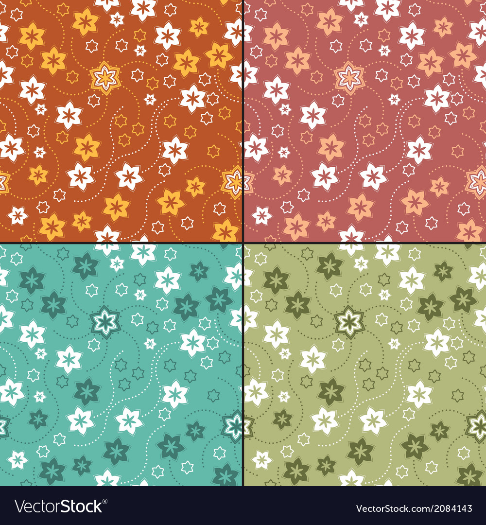 Set of four floral seamless pattern vector | Price: 1 Credit (USD $1)