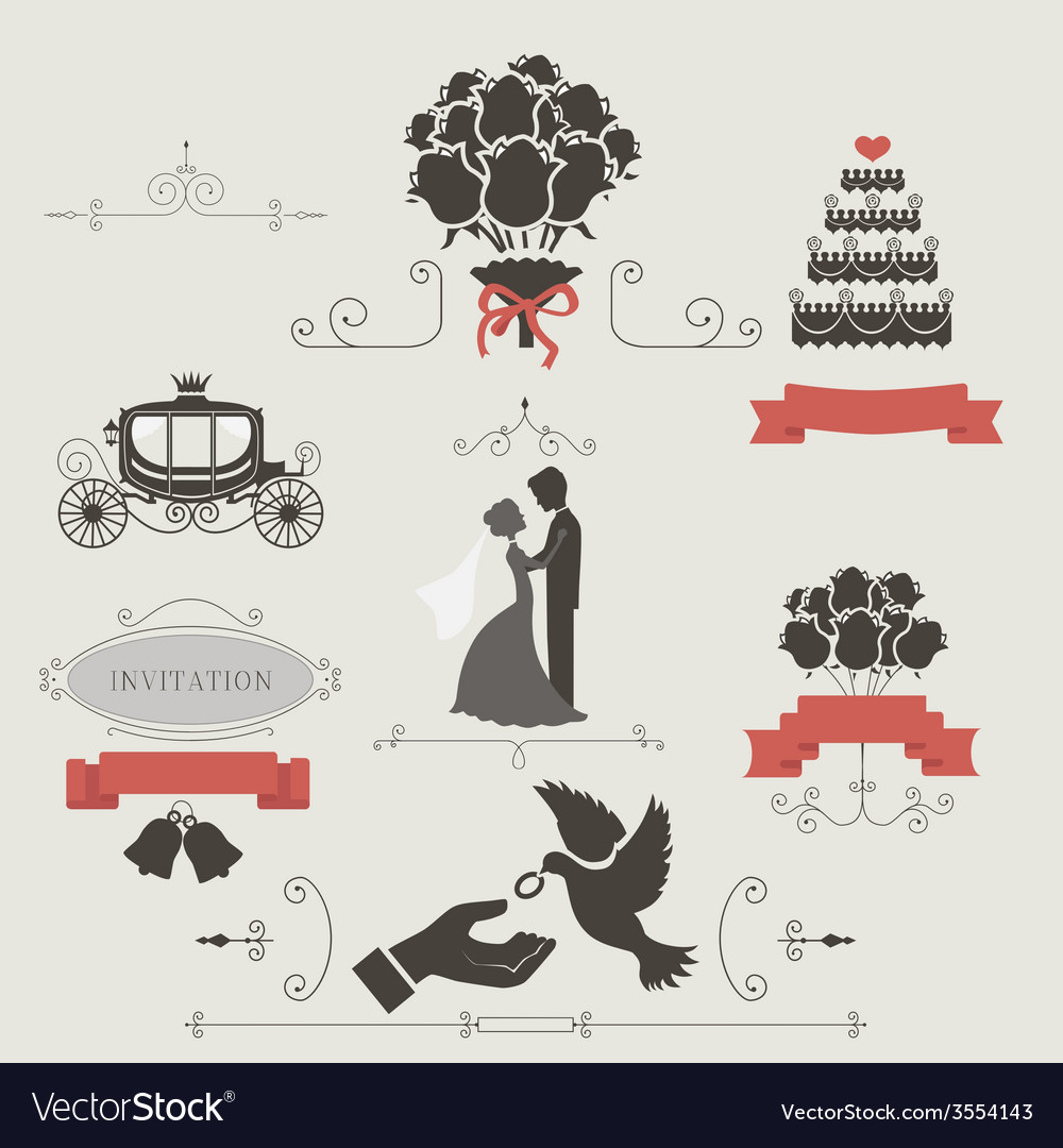 Set of vintage elements for wedding invitation vector | Price: 1 Credit (USD $1)
