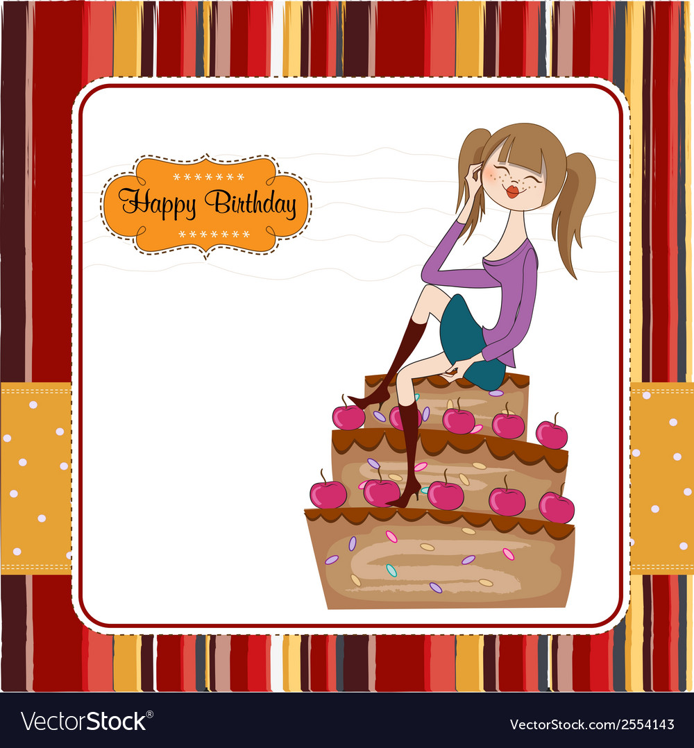 Sexy young woman sitting on a big cake vector | Price: 1 Credit (USD $1)