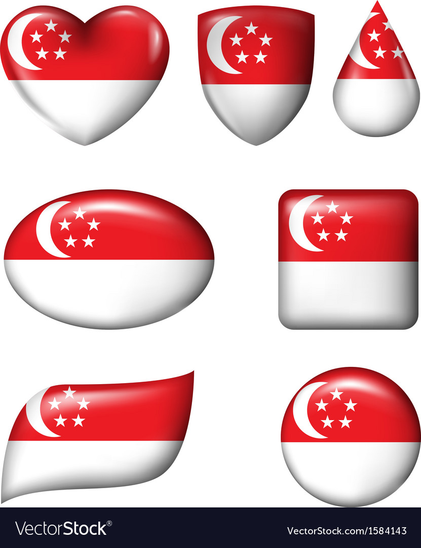 Singapore flag in various shape glossy button vector | Price: 1 Credit (USD $1)