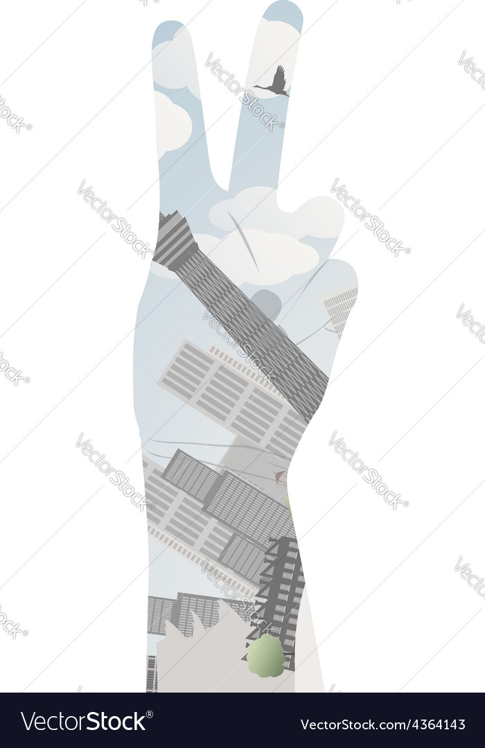 Victory sign double exposure vector | Price: 1 Credit (USD $1)