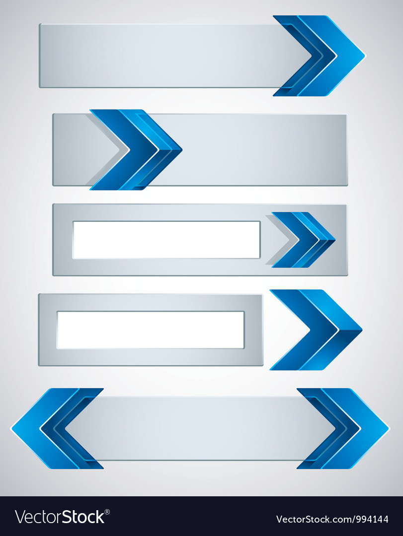 3d banners finished with blue arrows vector | Price: 1 Credit (USD $1)