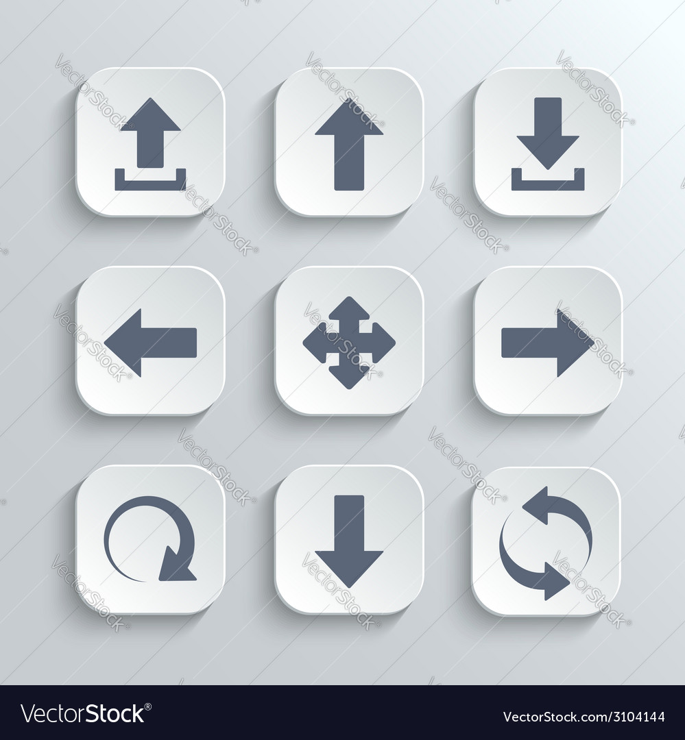 Arrows icon set - white app buttons vector | Price: 1 Credit (USD $1)