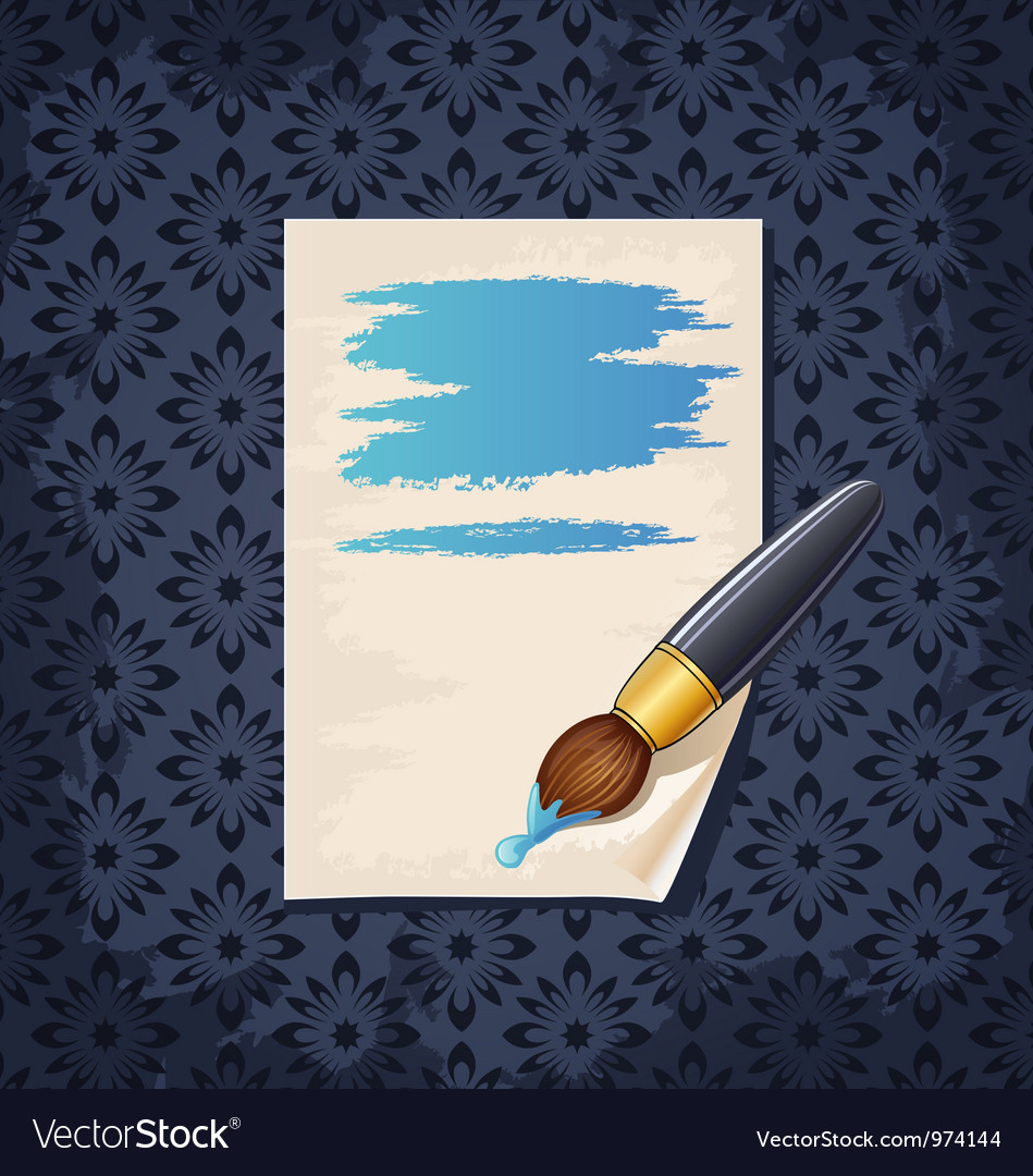 Blank note paper with brush on wallpaper vector | Price: 1 Credit (USD $1)