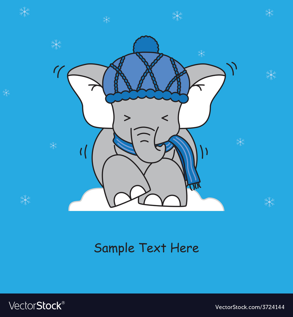Cold elephant vector | Price: 1 Credit (USD $1)
