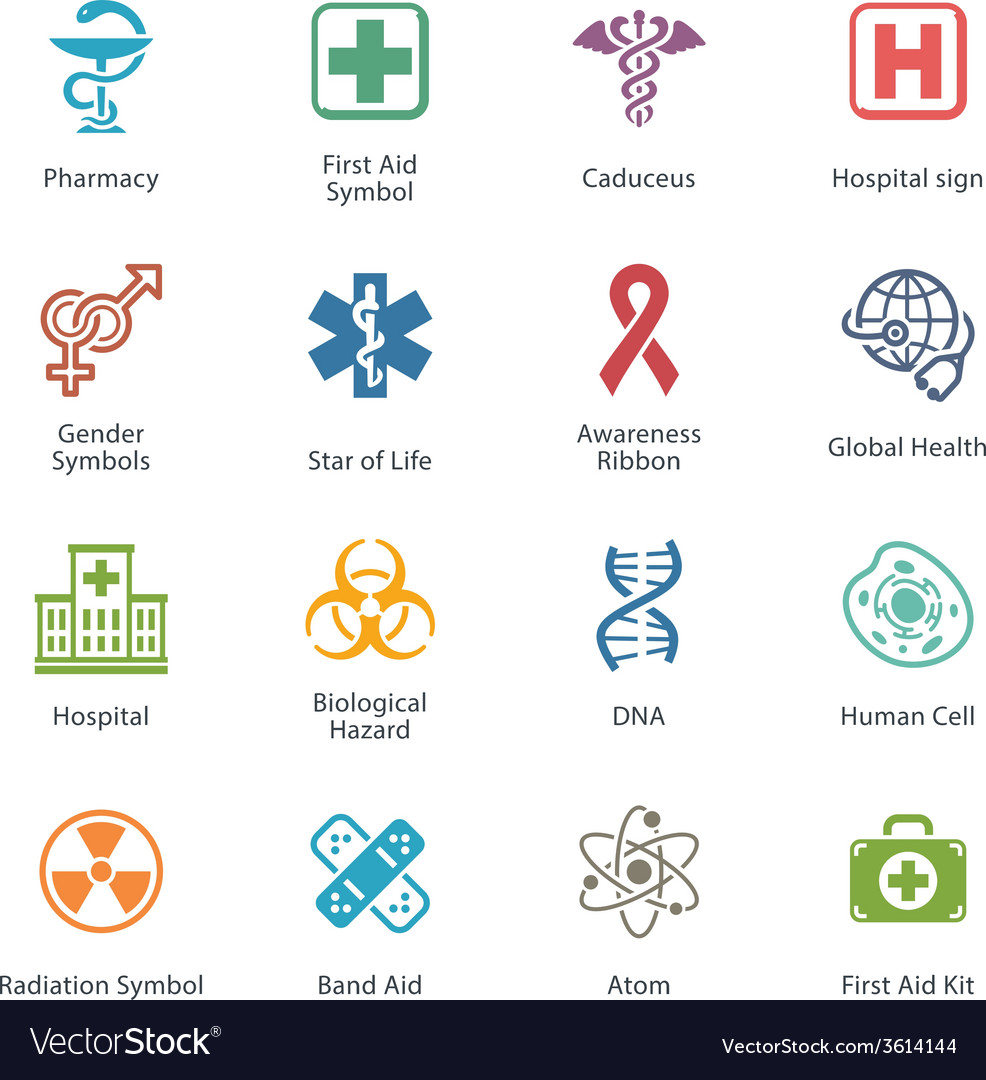 Colored medical health care icons - set 1 vector   Price: 1 Credit (USD $1)