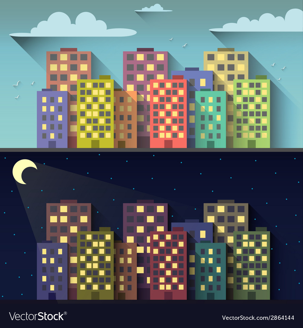 Day and night city vector | Price: 1 Credit (USD $1)