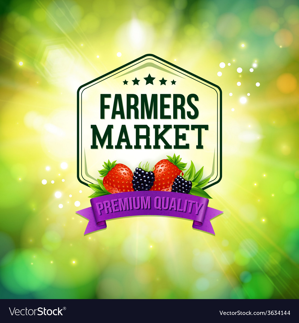 Farmers market poster blurred background with vector | Price: 1 Credit (USD $1)