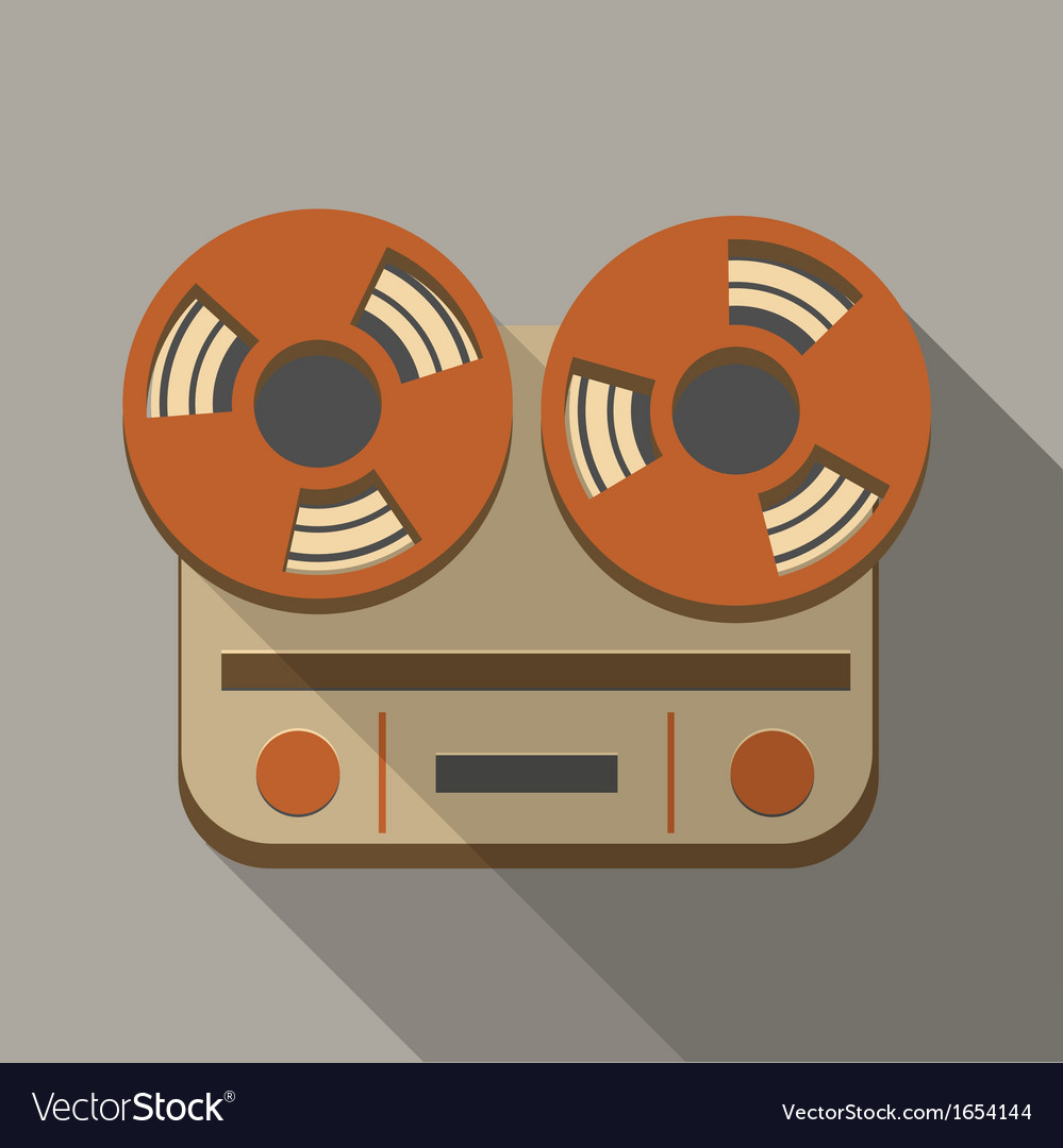 Flat long shadow tape recorder vector | Price: 1 Credit (USD $1)