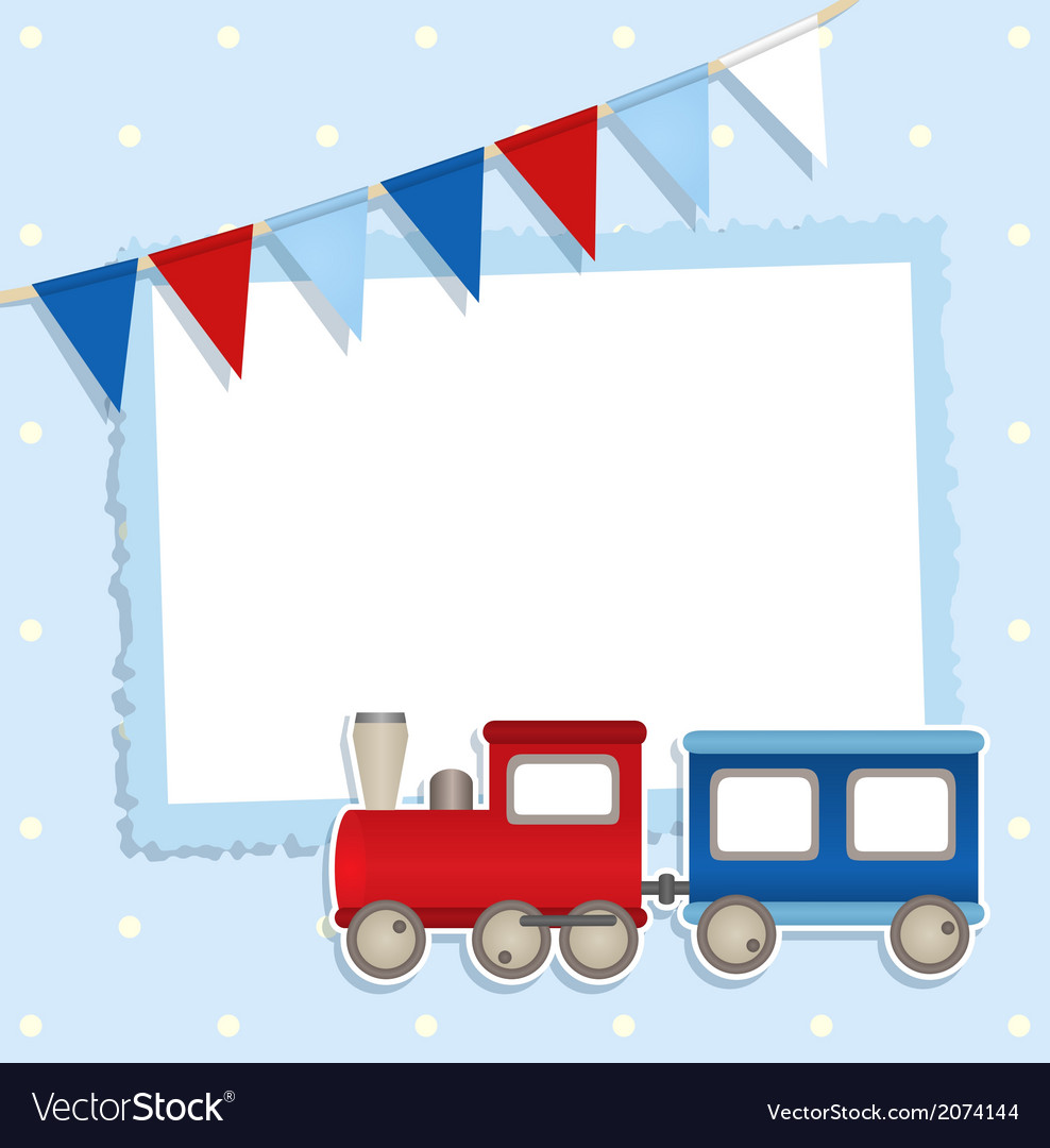 Holiday card with festive flags and sticker train vector | Price: 1 Credit (USD $1)