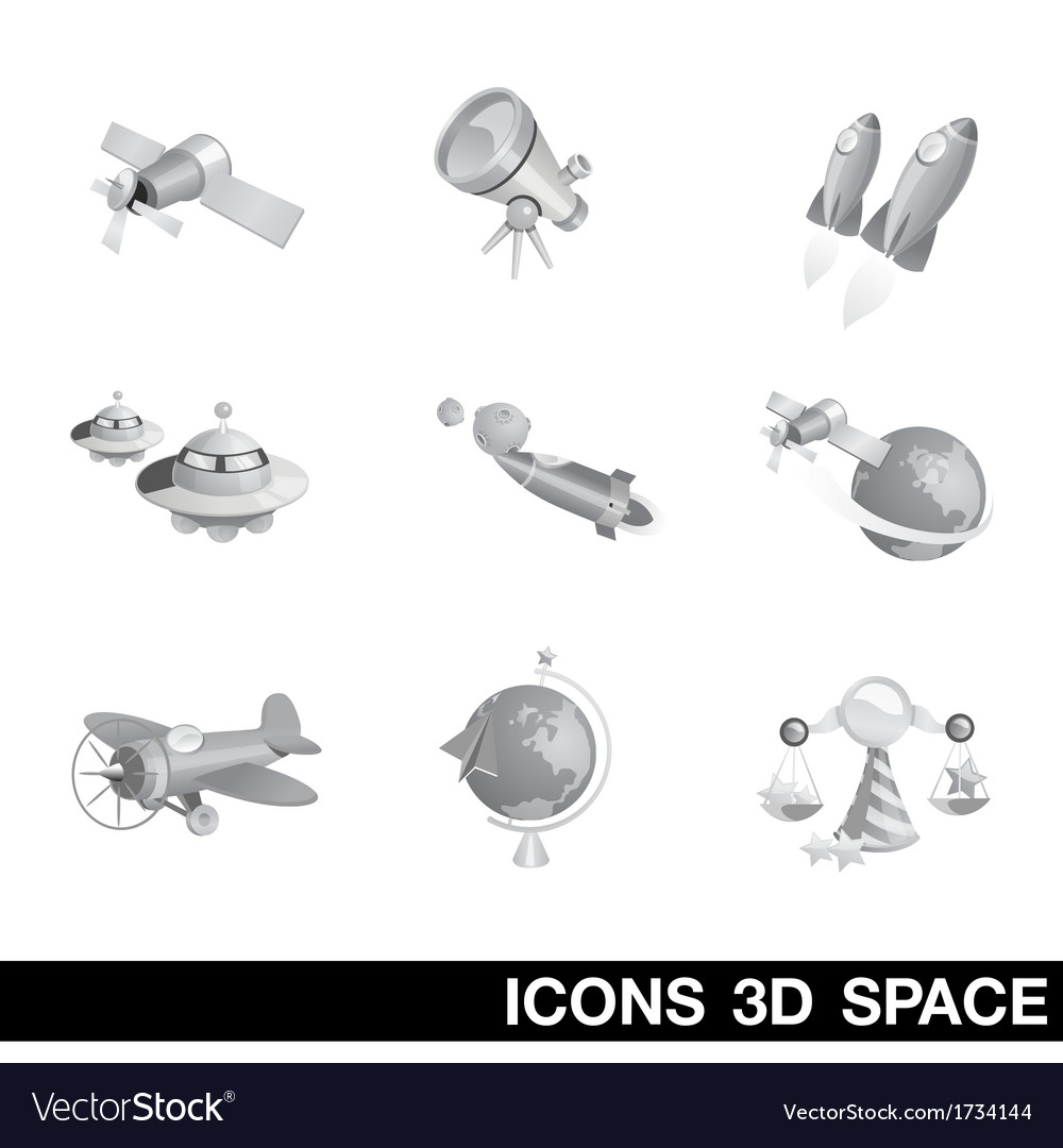 Icon set space 3d vector | Price: 1 Credit (USD $1)
